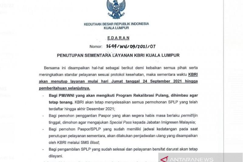 KBRI Kuala Lumpur Tutup tanpa Batas Waktu, WNI Jangan Panik - JPNN.com