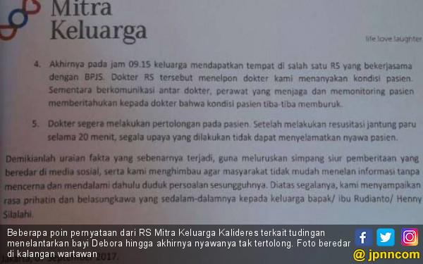DPR Tolak Hasil Investigasi Kasus Kematian Bayi Debora - JPNN.COM