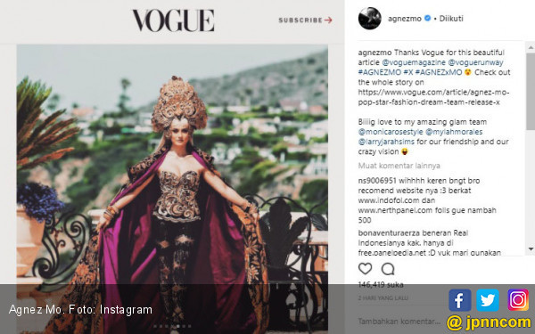 Setelah Hollywoodlife, Agnez Mo Masuk Majalah Vogue Amerika - JPNN.COM
