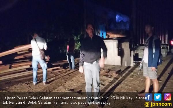 Polisi Sita 25 Kubik Kayu tak Bertuan di Solok Selatan - JPNN.com