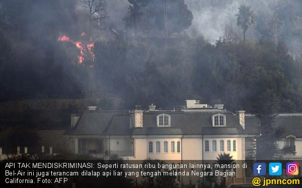Api Mengancam Pemukiman Orang Kaya California - JPNN.COM