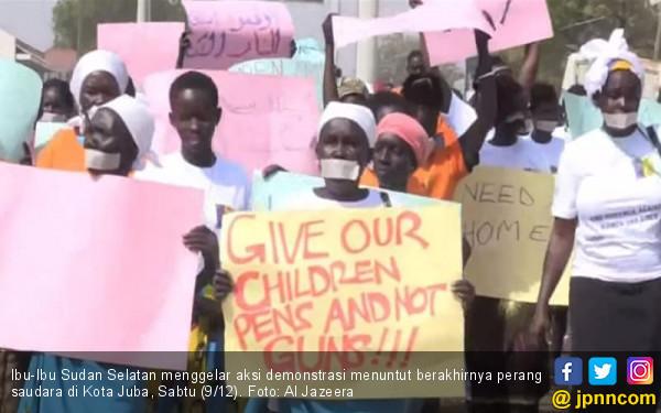 Menderita dan Dilupakan Dunia, Ibu-Ibu Sudan Turun ke Jalan - JPNN.COM