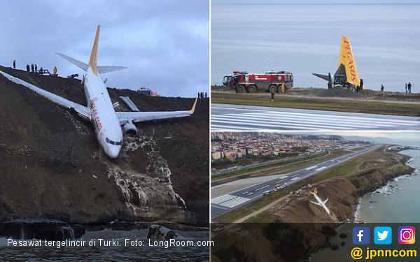 Pesawat 168 Penumpang Tergelincir, Nyaris Masuk Laut - JPNN.COM