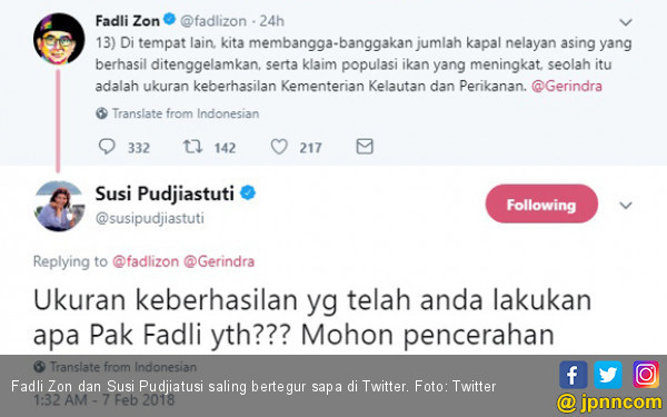 Fadli Zon Sebut Bu Susi Baper, Nih Sebabnya... - JPNN.com