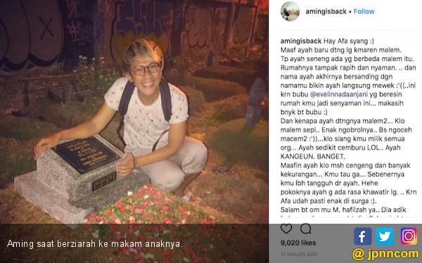 Begini Momen Haru Aming saat Nyekar ke Makan Anak - JPNN.COM