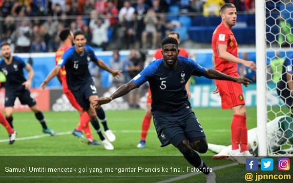 Samuel Umtiti mencetak gol yang mengantar Prancis ke final. Foto: fifa