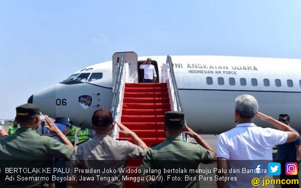 Pray for Sulteng, Jokowi Naik Pesawat TNI AU Menuju Palu - JPNN.COM