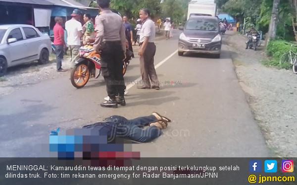 Kamaruddin Jatuh ke Kolong Truk, Astaga Kepalanya - JPNN.COM