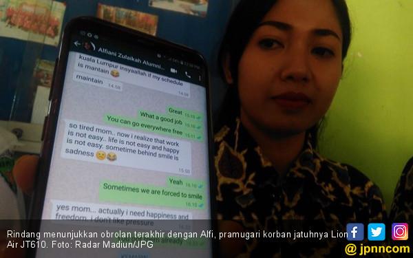 Alfi, si Cantik Itu Curhat Sehari sebelum Tragedi Lion Air - JPNN.COM