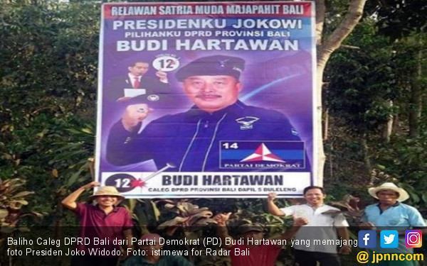Caleg Partai Pak SBY Pajang Baliho Bergambar Presiden Jokowi - JPNN.COM