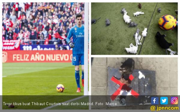 Thibaut Courtois jadi Korban Teror Tikus saat Derbi Madrid - JPNN.COM