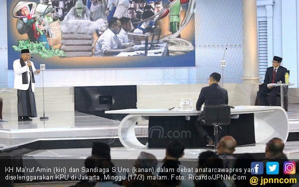 Kiai Ma'ruf Tampil di Luar Dugaan, Sandiaga Praktis Tanpa Terobosan - JPNN.COM