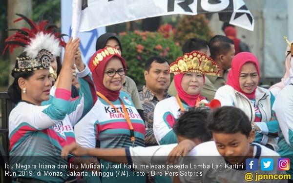 Ibu Negara Lepas Peserta Lomba Lari Kartini Run 2019 - JPNN.com