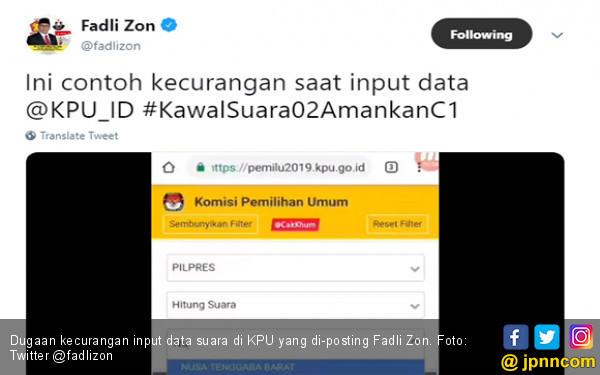 Fadli Zon Beri Contoh Dugaan Kecurangan Input Data KPU - JPNN.com