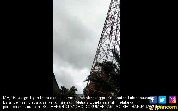 Gadis Belia di Tuba Nekat Panjat Tower Lantaran Diduga Putus Cinta - JPNN.com