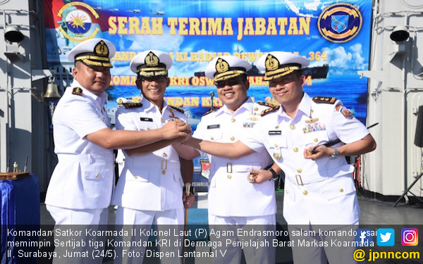 Pesan Kolonel Agam Saat Pimpin Sertijab Tiga Komandan Kapal Perang TNI AL - JPNN.com