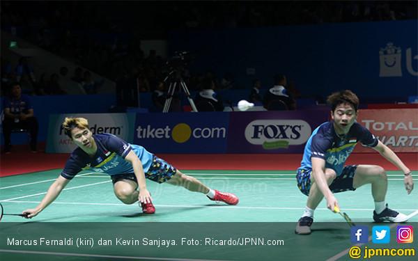 Indonesia Open 2019: Marcus / Kevin Kaget Lihat Kok Goyang, Untung Ada Suporter di Istora - JPNN.com