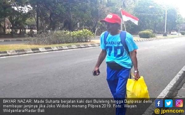 Jokowi Menang Lagi, Kakek 69 Tahun Bayar Nazar Jalan Kaki Singaraja - Denpasar - JPNN.com