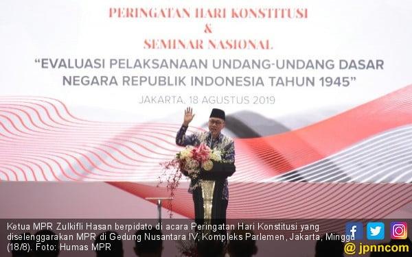 Pidato di Acara Peringatan Hari Konstitusi, Ketua MPR Singgung Pentingnya GBHN - JPNN.com