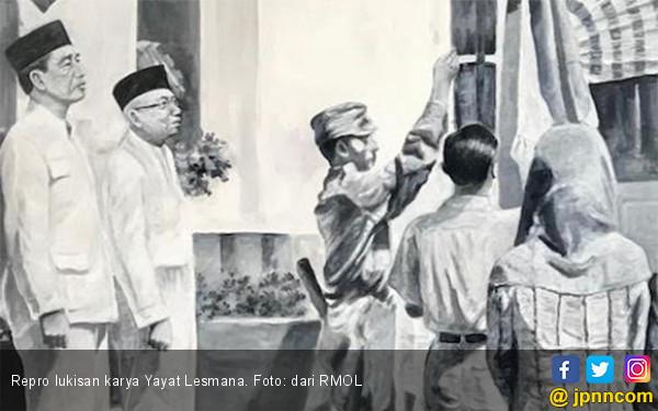 Lukisan Unik, Saat Jokowi-Ma'ruf Gantikan Posisi Soekarno-Hatta - JPNN.com