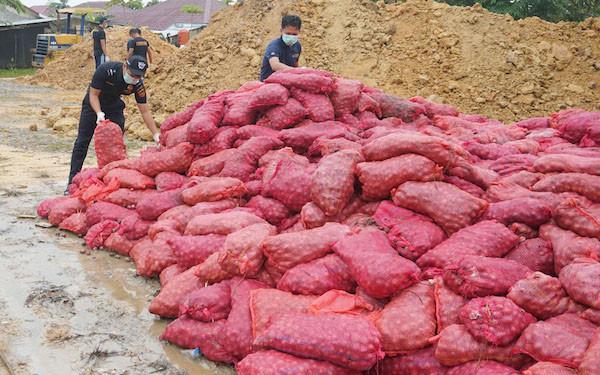 Bea Cukai Kuala Langsa Musnahkan 3.000 Karung Bawang Ilegal - JPNN.com