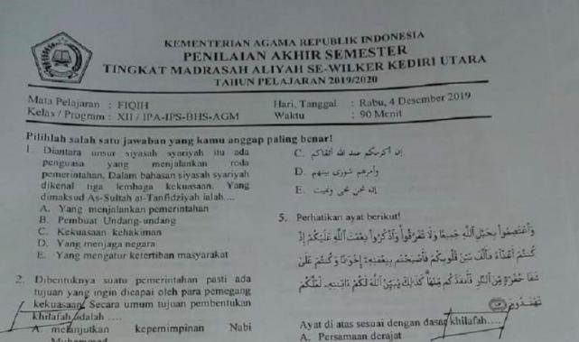 Soal Ujian untuk Madrasah Bahas tentang Khilafah, Siapa Penyusunnya? - JPNN.com