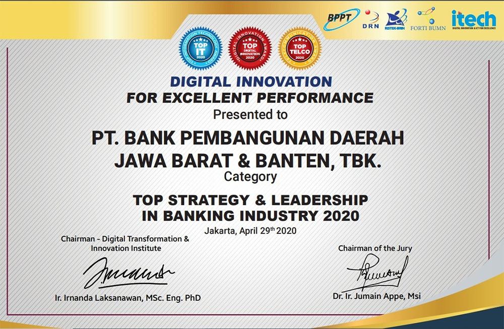 Bank BJB Dapat Penghargaan TOP Digital Innovation Award 2020 - JPNN.com