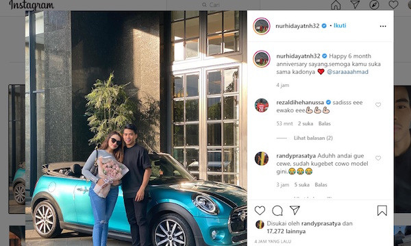 6 Bulan Jadian, Kekasih Nurhidayat Dapat Kado Mobil Mewah, Saddil: Kalau Satu Tahun Ferrari - JPNN.com