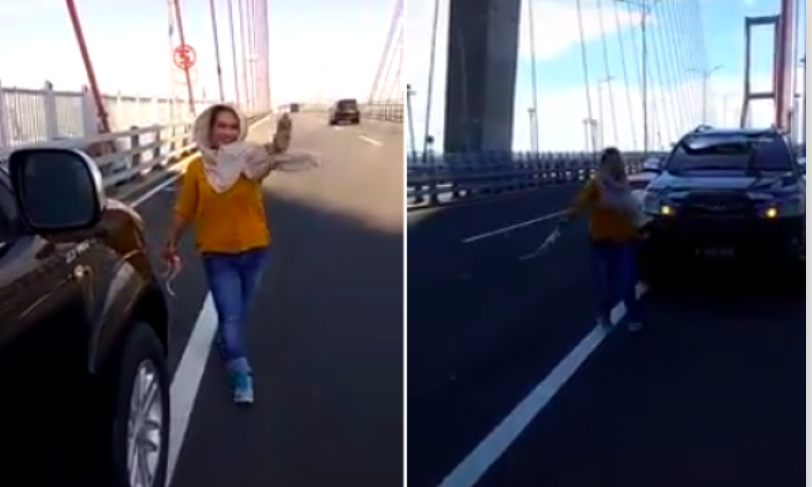 Aih, Emaknya Siapa Ini Joget Heboh ala TikTok Sendirian di Jembatan Suramadu - JPNN.com