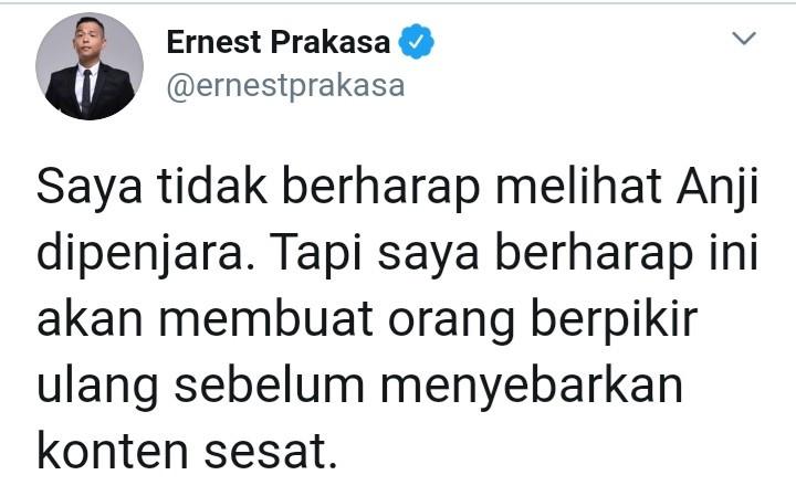 Anji Dilaporkan ke Polisi, Ernest Prakasa Menyampaikan Kalimat Harapan - JPNN.com