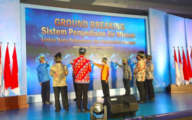 PT PP Tirta Riau Gelar Groundbreaking Ceremony SPAM Lintas Kota Pekanbaru & Kabupaten Kampar - JPNN.com