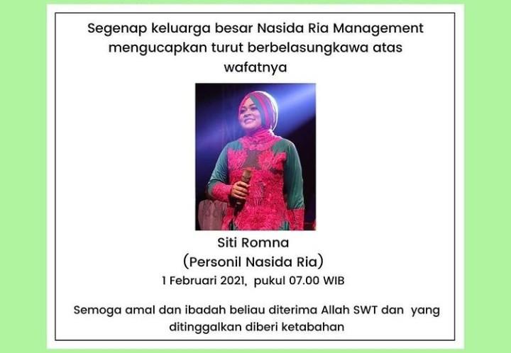 Personel Nasida Ria, Siti Romna Meninggal Dunia - JPNN.com