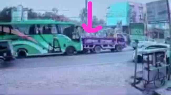 Detik-Detik Mbak Lesi Maryati Tewas Terjepit Bus dan Truk, Terekam CCTV, Videonya Viral - JPNN.com