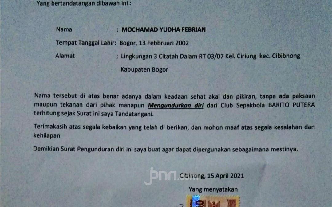 Yudha Febrian Kena Masalah, Ternyata Sudah Bikin Surat Mundur - JPNN.com