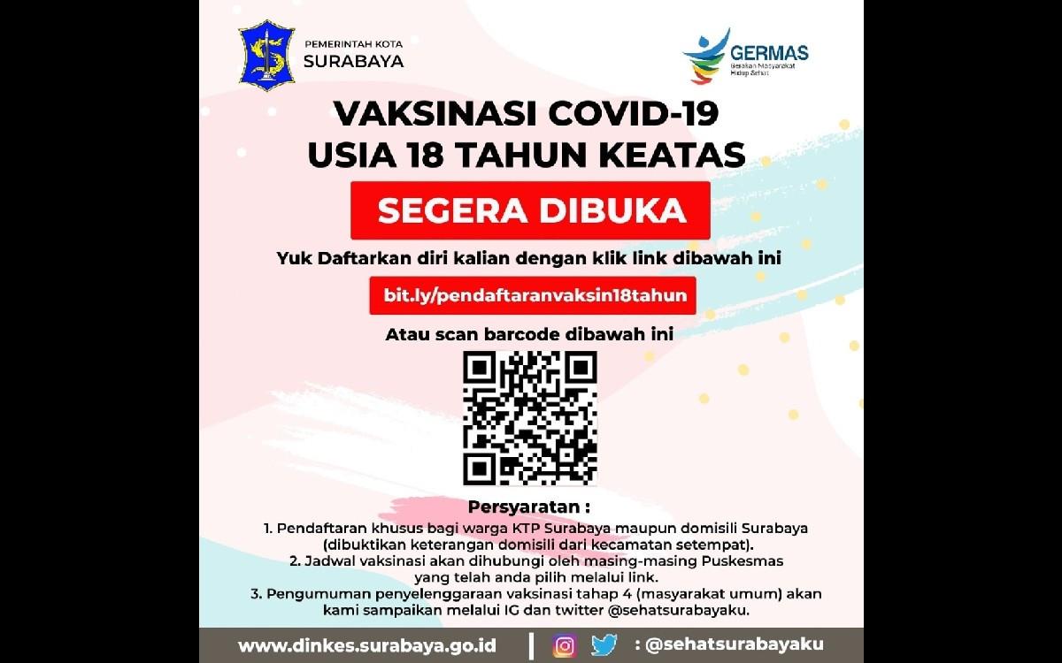 Warga Surabaya Usia 18 Tahun ke Atas belum Vaksin Silakan Mendaftar di Sini  - Daerah JPNN.com