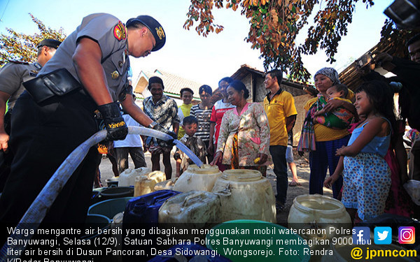 Polres Banyuwangi Bagikan Air Bersih Kepada Warga - JPNN.COM