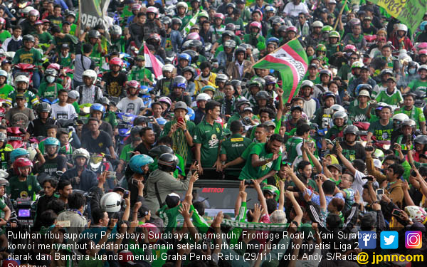 Konvoi Penyambutan Pemain Persebaya Surabaya - JPNN.COM