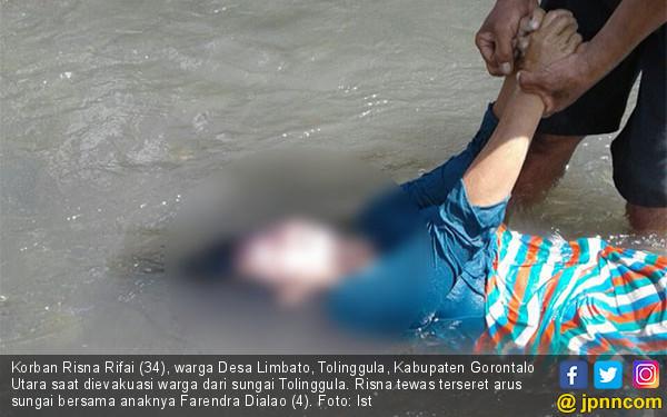Ibu dan Anaknya Tewas Terseret Arus Sungai Tolinggula - JPNN.COM