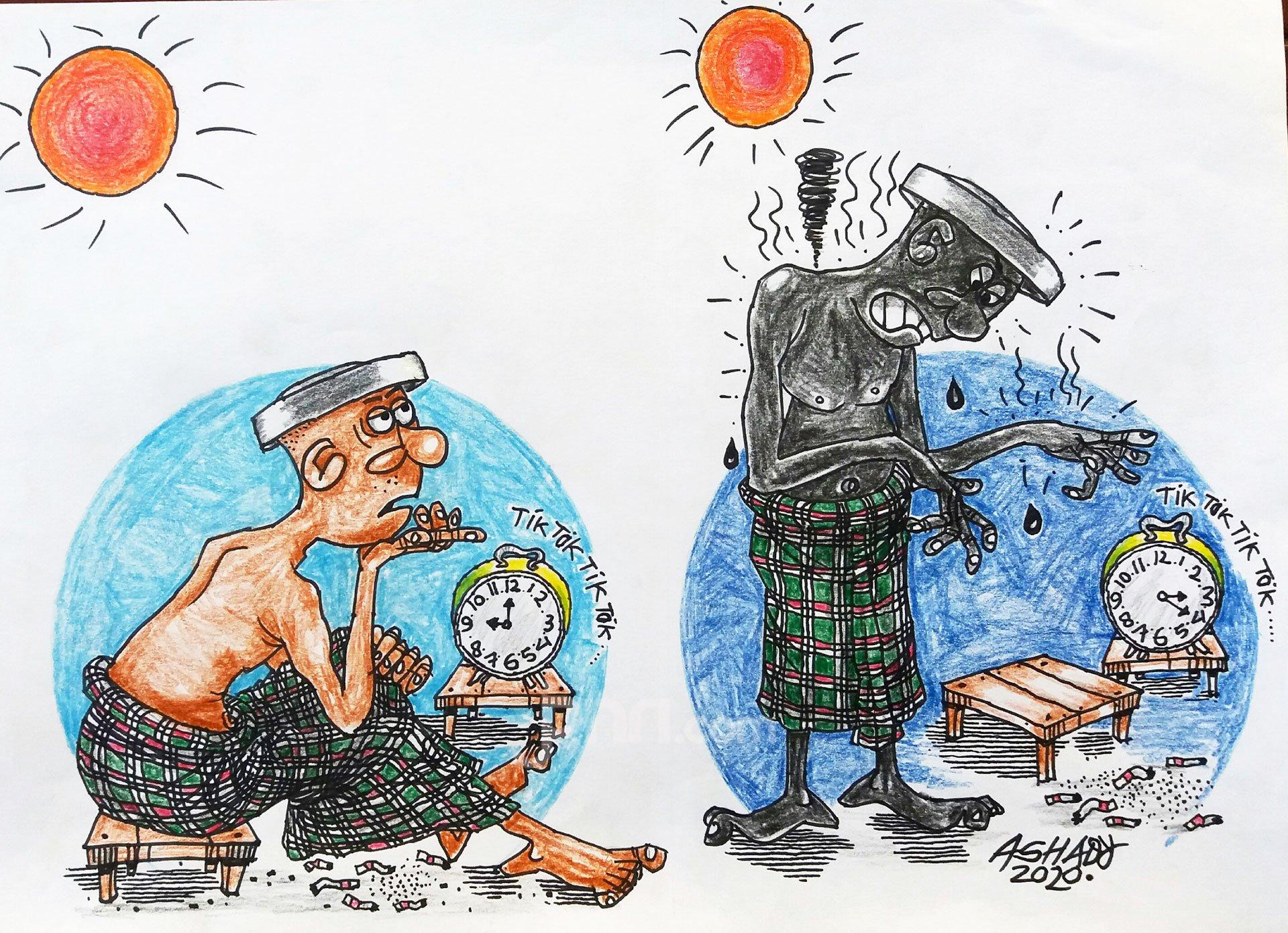 Berjemur. Karikatur oleh Ashady - JPNN.com