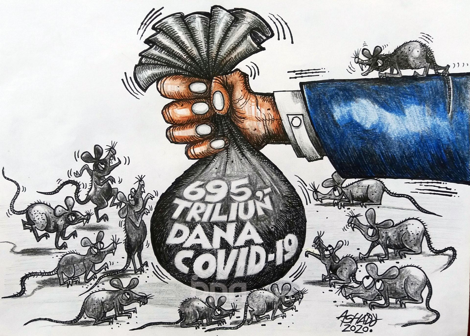 Dana Covid-19. Karikatur oleh Ashady - JPNN.com