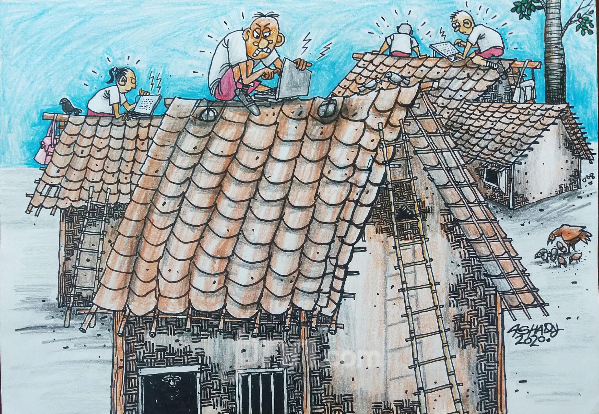 SD Negeri Daring. Karikatur oleh Ashady - JPNN.com