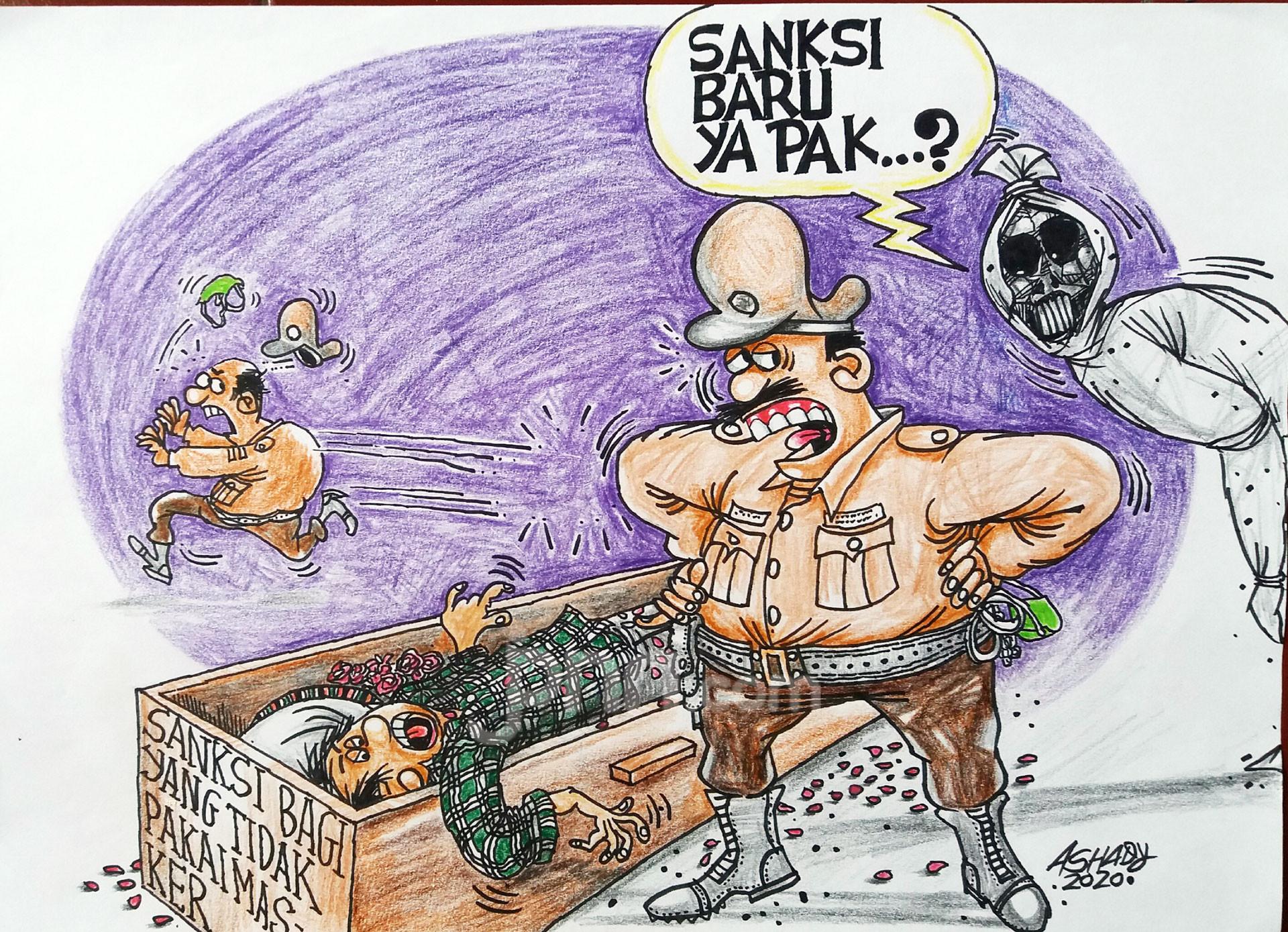 Sanksi Tanpa Masker. Karikatur oleh Ashady - JPNN.com