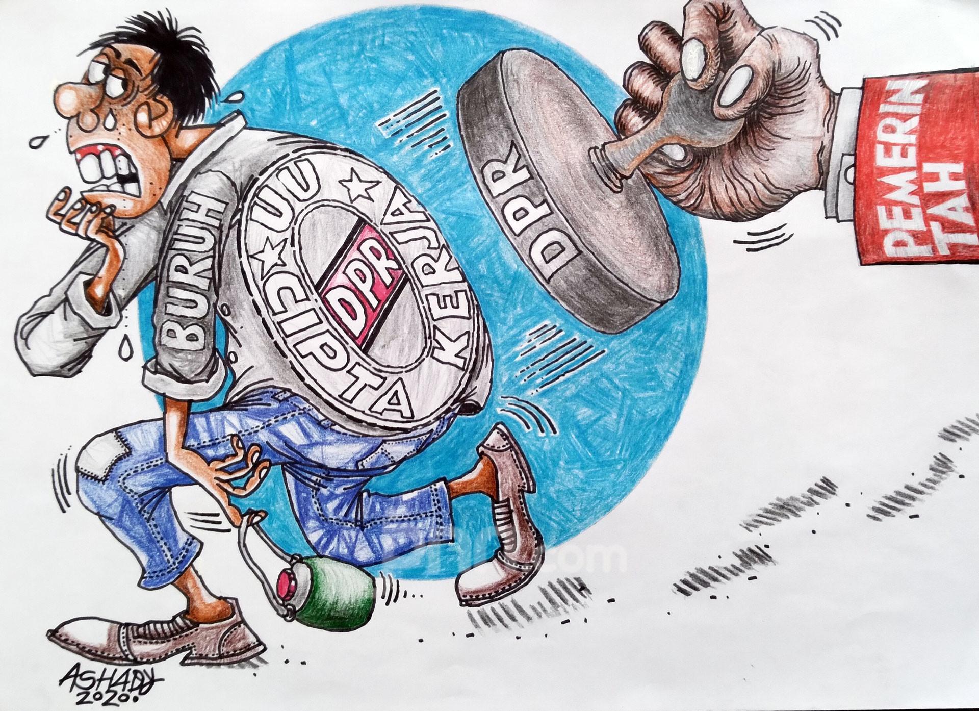 Undang-Undang Cipta Kerja. Karikatur oleh Ashady - JPNN.com
