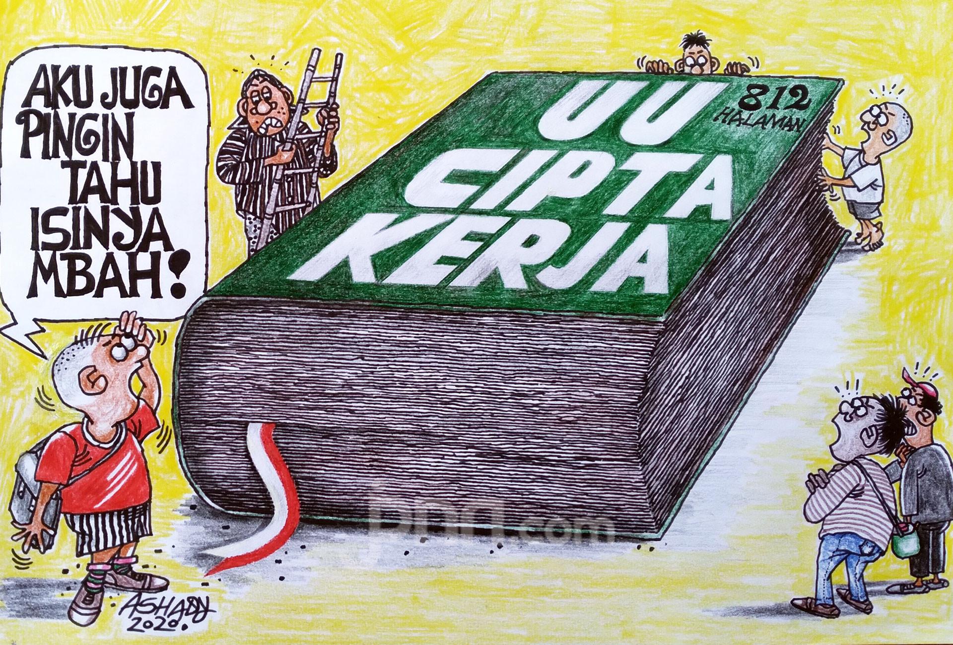 Buku UU Cipta Kerja. Karikatur oleh Ashady - JPNN.com