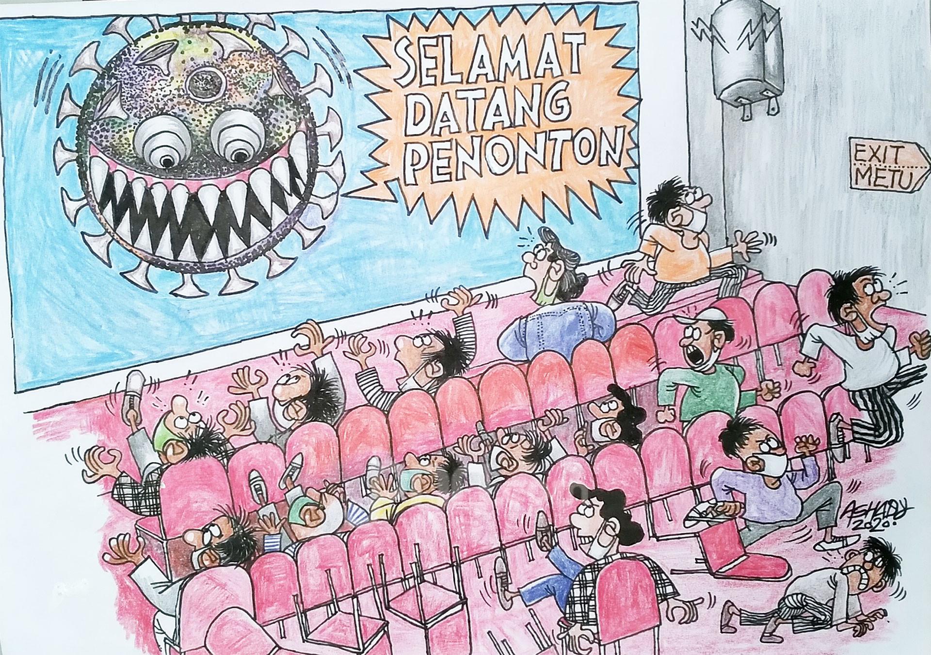 Bioskop Corona. Karikatur oleh Ashady - JPNN.com