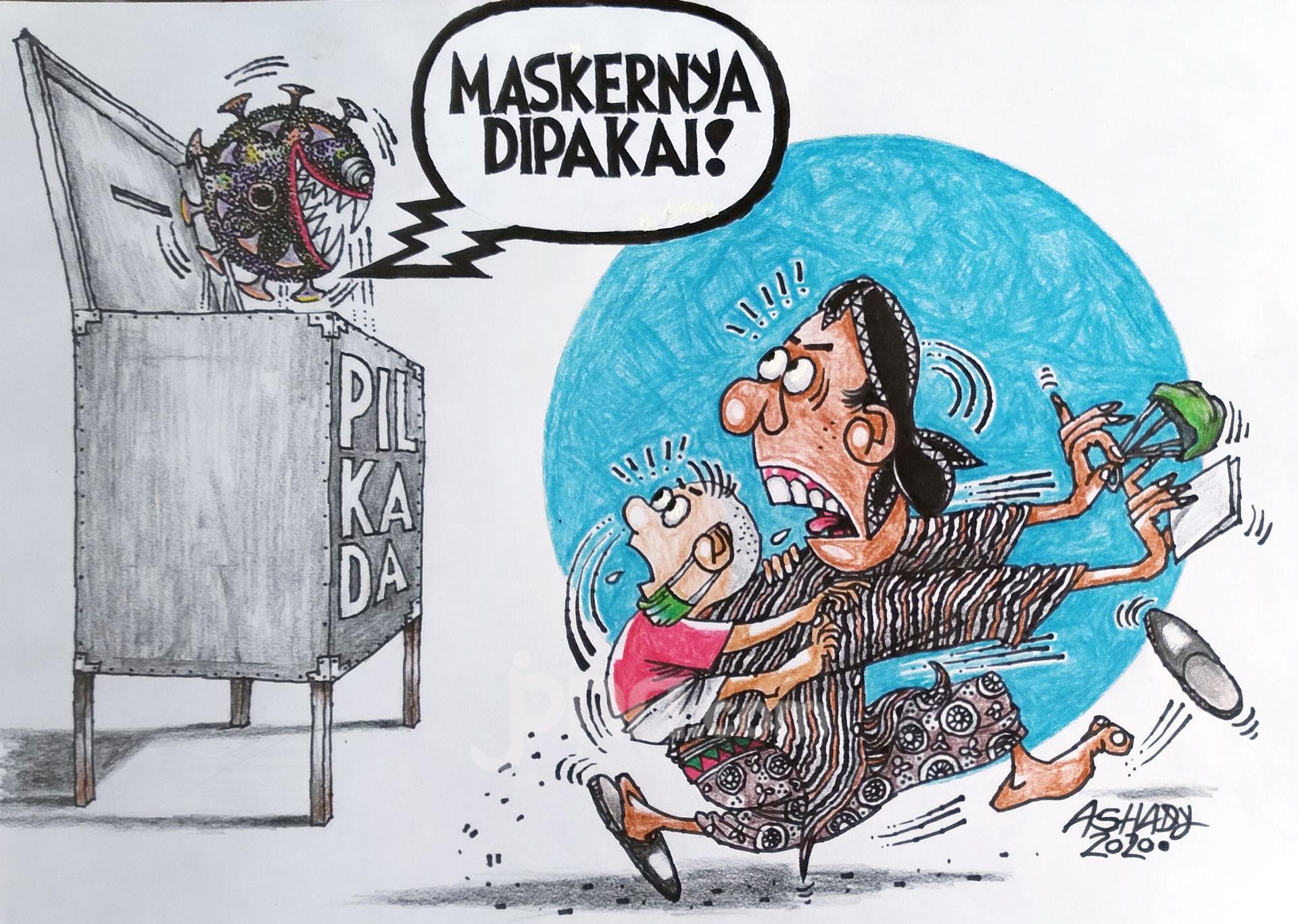 Pilkada di Masa Corona. Karikatur oleh Ashady - JPNN.com