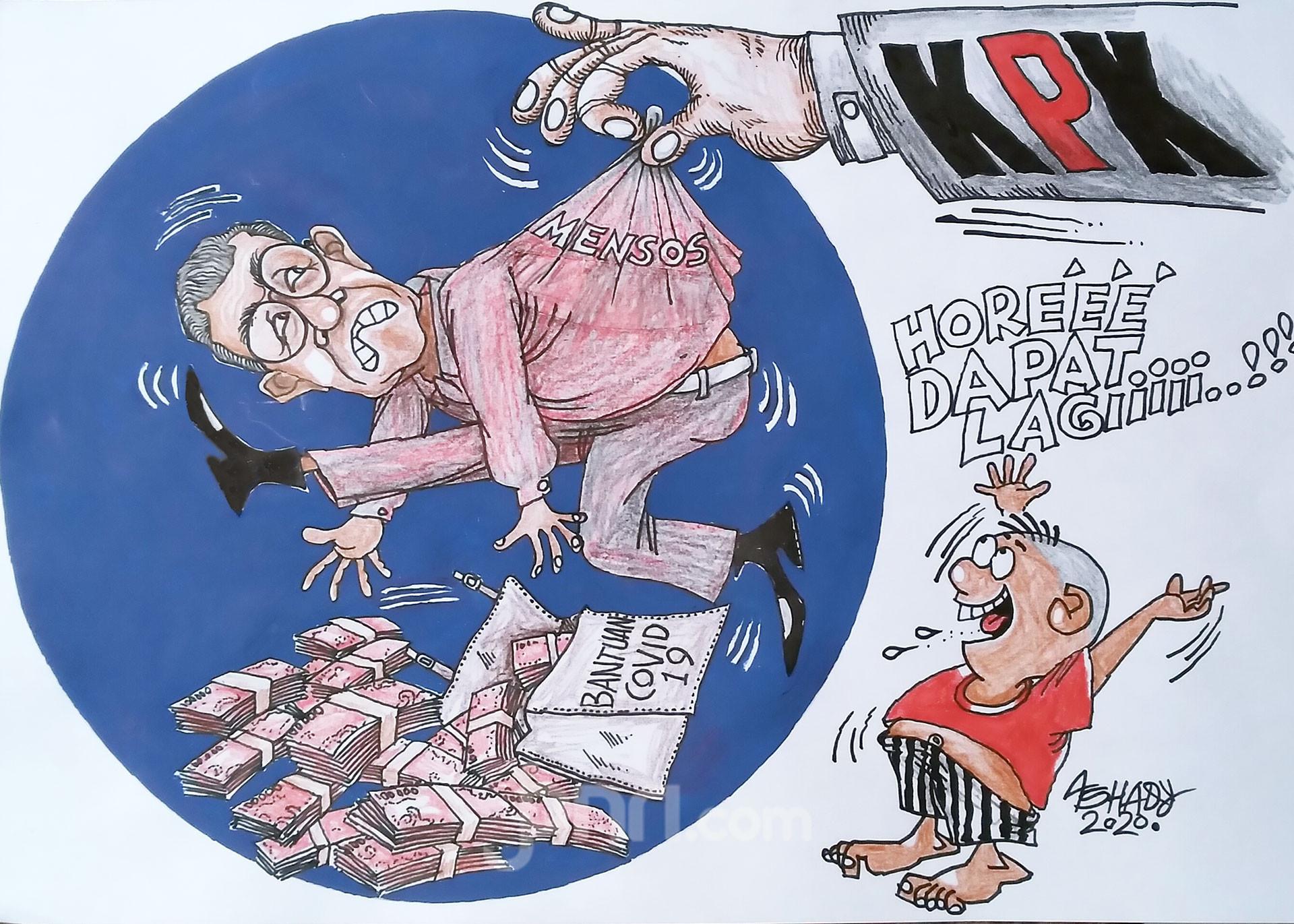 Bantuan Covid-19 Dikorupsi. Karikatur oleh Ashady - JPNN.com