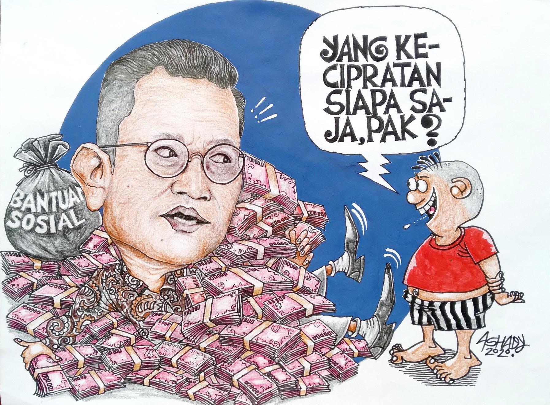 Bansos Covid-19. Karikatur oleh Ashady - JPNN.com