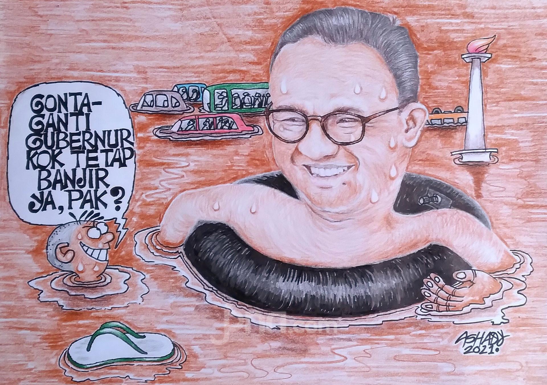 Ganti Gubernur Tetap Banjir. Karikatur oleh Ashady - JPNN.com