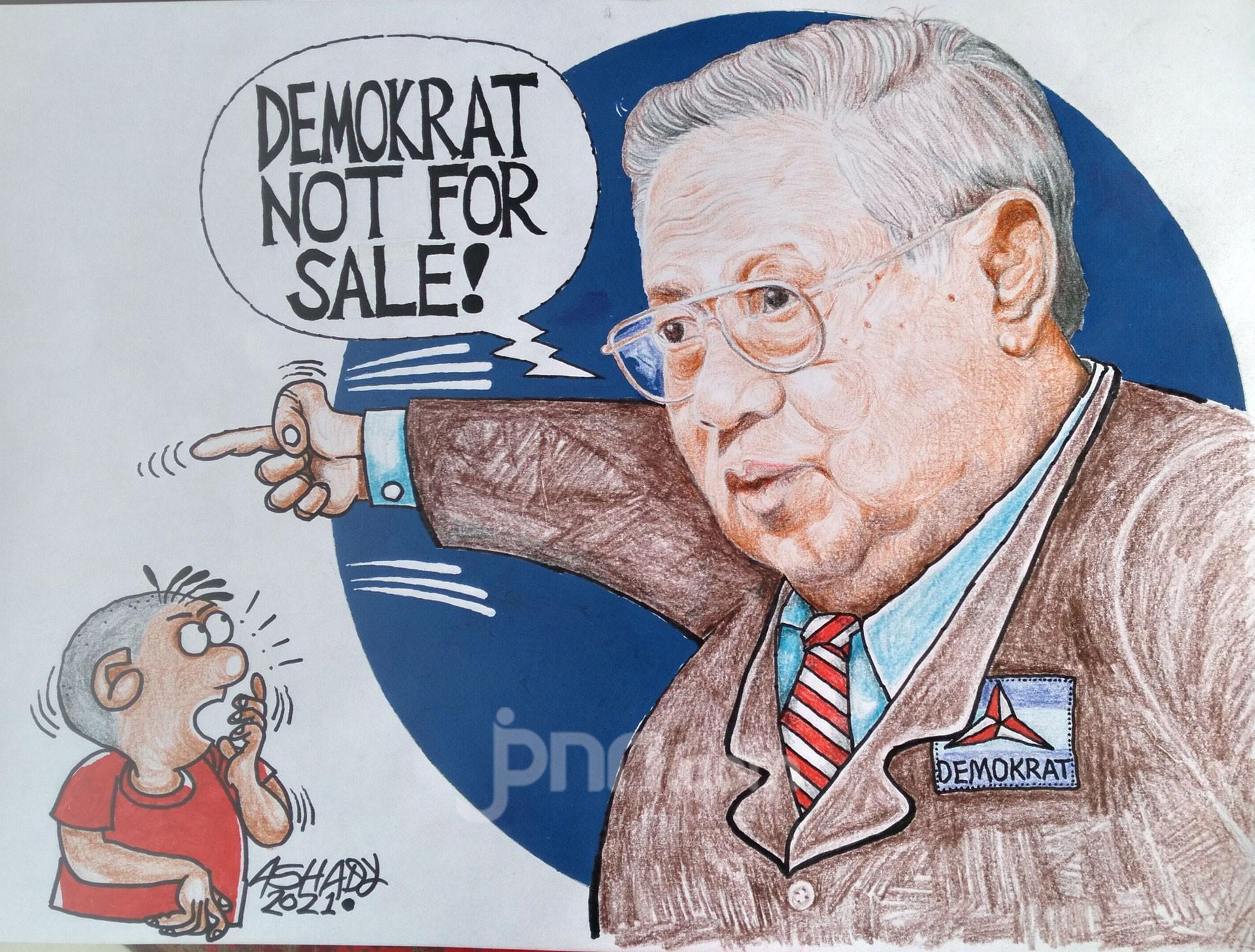 Demokrat Not For Sale. Karikatur oleh Ashady - JPNN.com